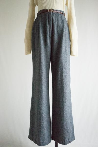 Wide Flare Wool With Belt Pants