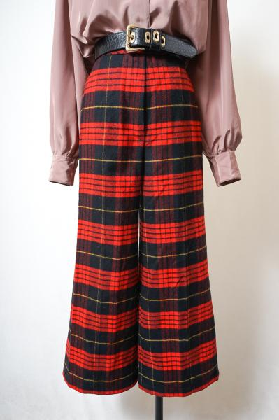 Red Tartan check Wide Pants