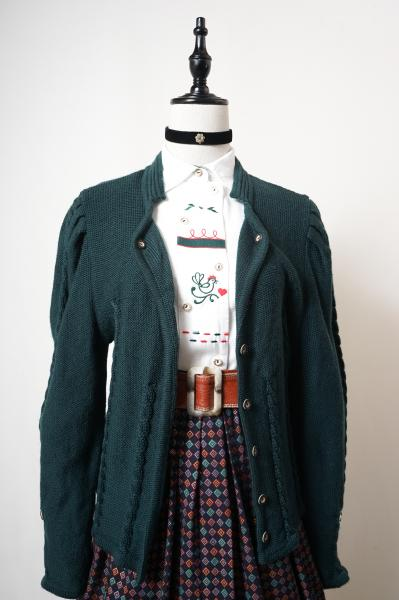 Made In Euro Dark Green Tyrol Cardigan