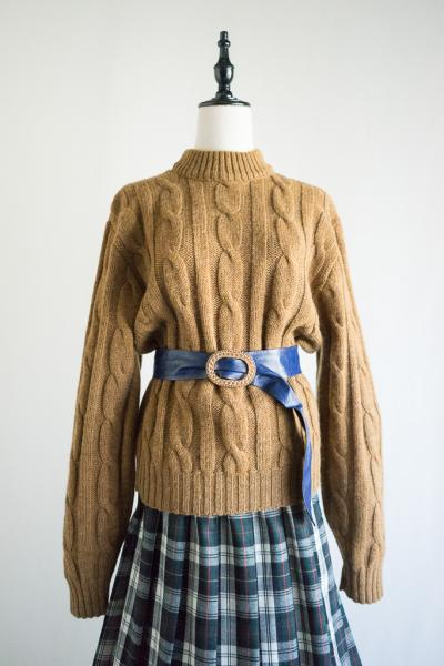 60's Brown WORSTED WOOL Sweater