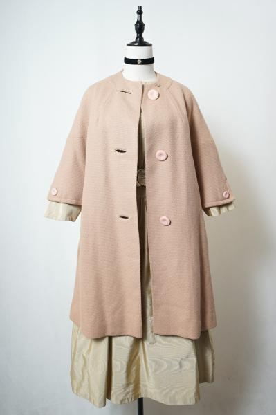 50's Design Button Beige Long Coat