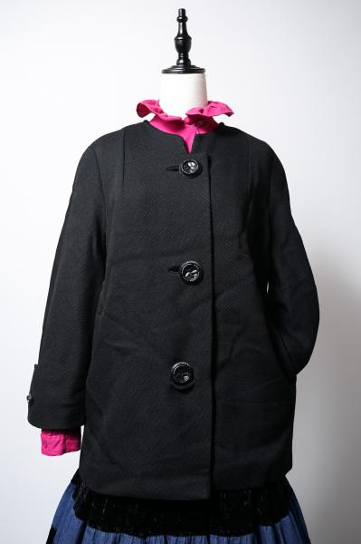 50's Wide Silhouette Black Coat