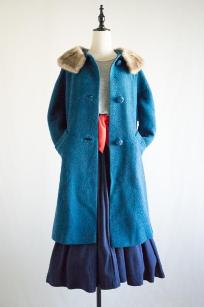 50's Mink Fur Collar Blue Coat