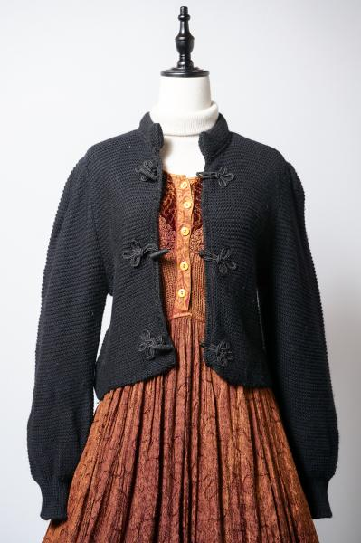 Made In Euro China Design Black Tyrol Cardigan