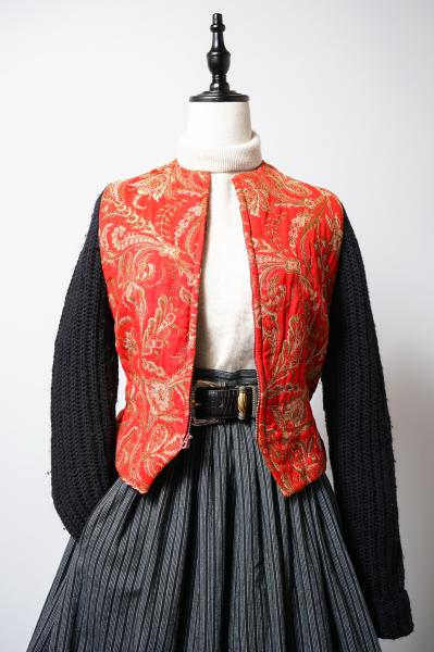 50's Red Botanical×Knit Sleeve Jacket