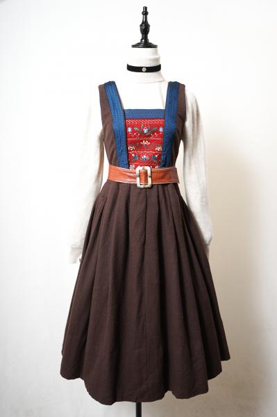 Made In Euro Flower Embroidery Brown Tyrol Dress