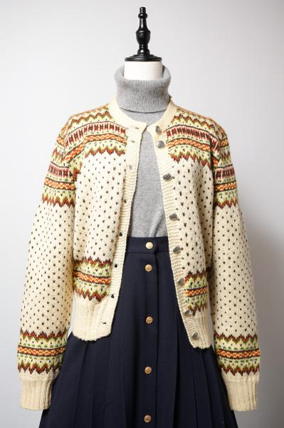 Native Like Pattern Pastel yellow Knit Cardigan