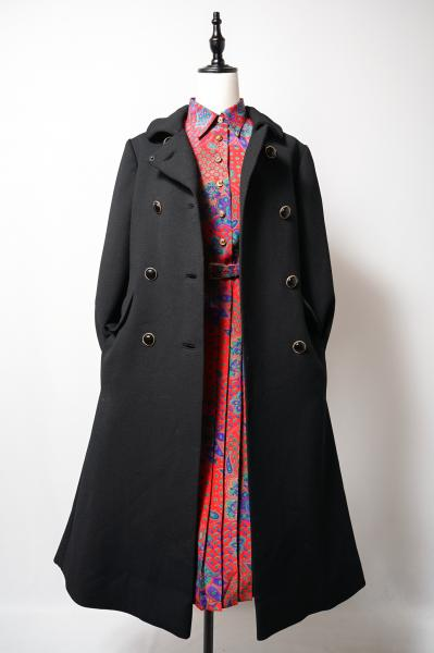 50's Classical Design Black Double Coat