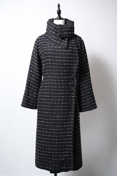 50's Design Neck Border Nep Black Coat