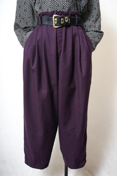 Made In Euro Purple×Navy Check Pants