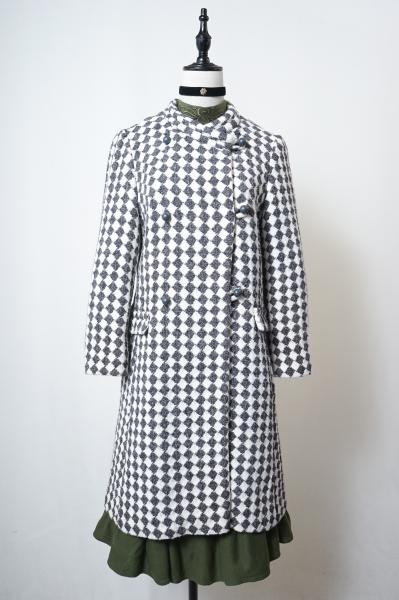 60's Gray×White Harrikin Check Coat