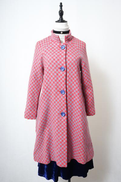 60's Red×Gray Block Check Coat