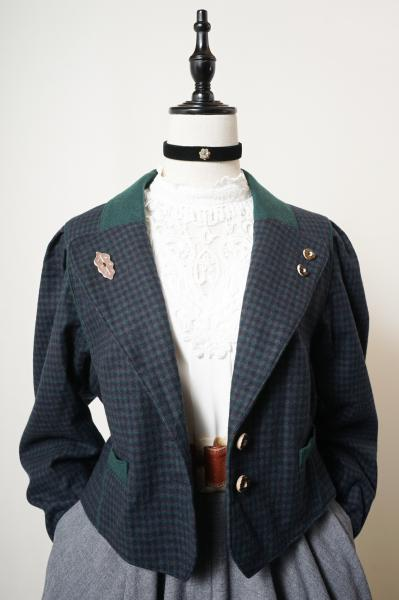 Made In Euro Check Pattern Tyrol Short Jacket