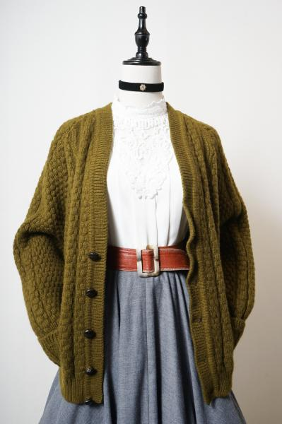 Made In Euro Olive Fisherman Cardigan