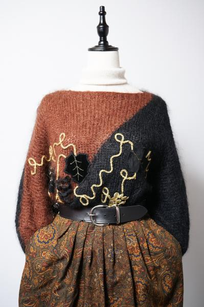 Grape Design Black×Brown Crazy Hairy Sweater
