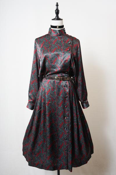 Cross paisley Stand collar Pleats Dress