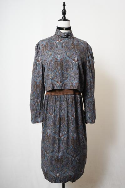 Gather highneck Layered Paisley Dress