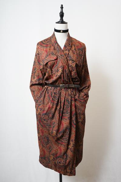 Shawl collar Brown paisley Dress
