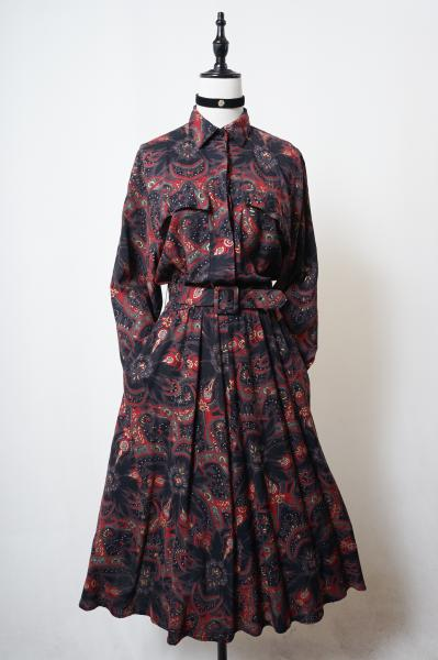 Exotic-color Flower design Shirt Dress