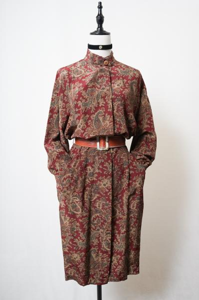Paisley flower Silk Stand Dress