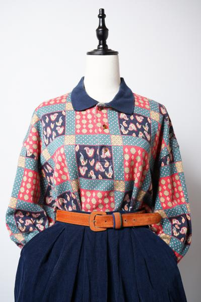 Made In Euro Retro Patchwork Print Tops