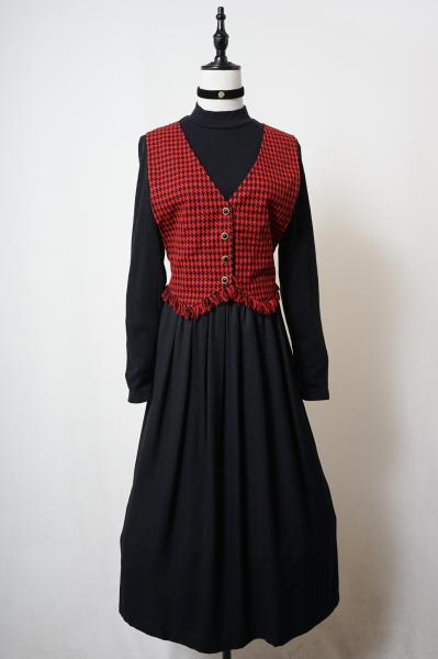 Houndstooth Layered Design Black×Red Dress