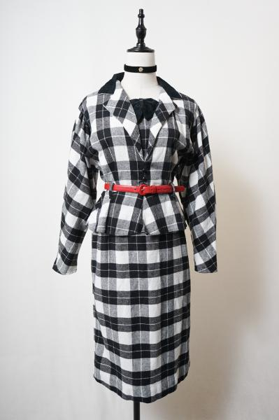Black×White Check Peplum Design Dress