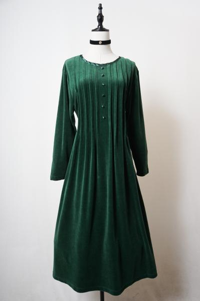 Pleats Design Straight Green Velour Dress