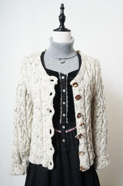 Made In Euro Unique Button Nep Tyrol Knit Cardigan