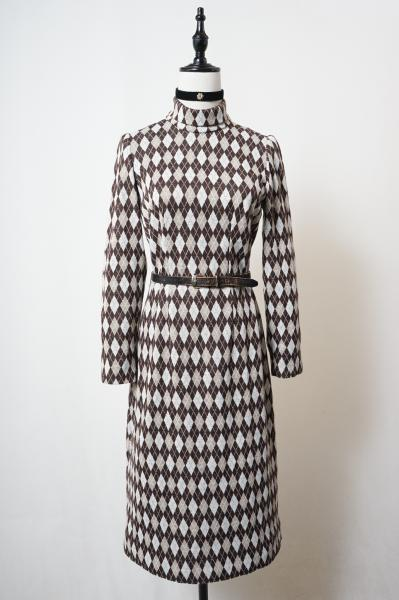 Argyle plaid Pattern Turtle Neck Brown Dress