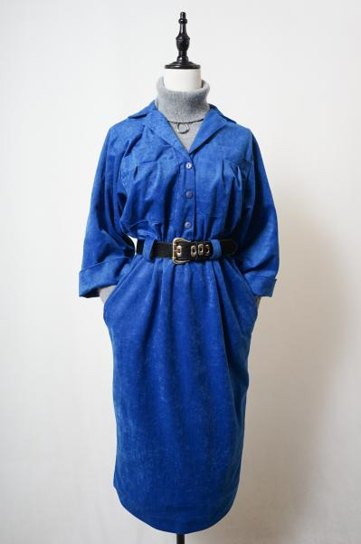 Uniform Design Blue Velour Dress