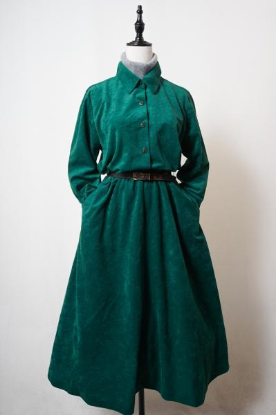 Simple Green Velour Long Dress