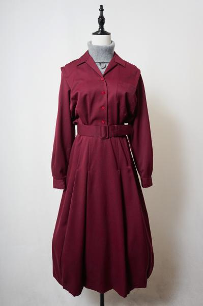 Simple Bordeaux Low Pleats Dress