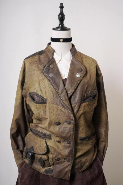 Made In Euro Stand Collar Brown Leather Jacket
