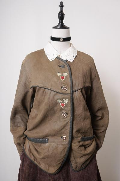 Made In Euro Heart Embroidery Brown Leather Jacket