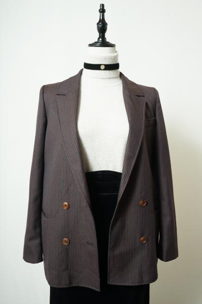 Made In Euro Stripe Charcoal Brown Tailored Jacket