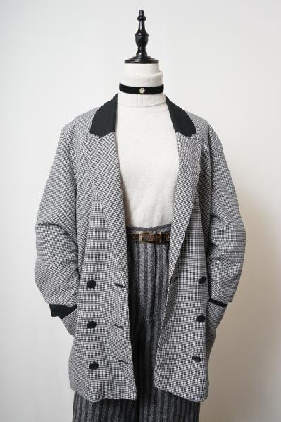 Made In Euro Houndstooth Monotone Tailored Jacket