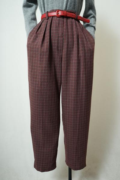 Check Pattern Red brown Pants