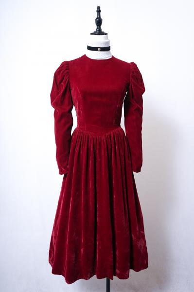 Dark red Velour Puff Dress