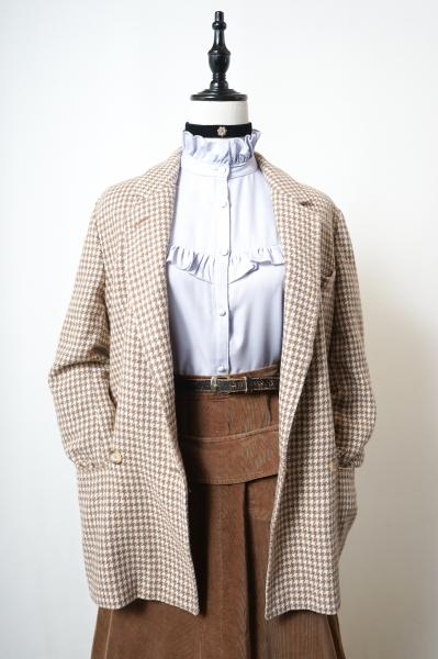 Made In Euro Beige Houndstooth Tailored Jacket