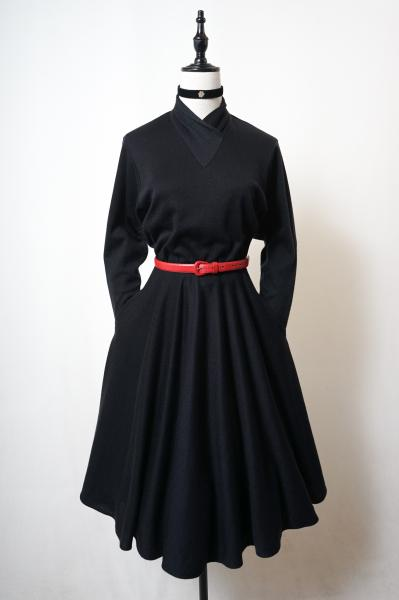 Cross neck Design Black Dress