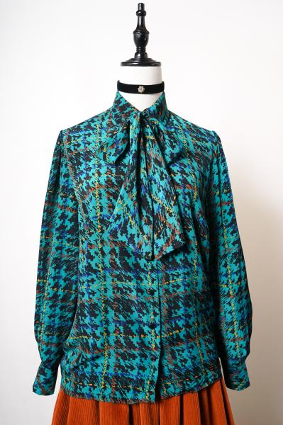 Made In France Grunge Check Blue Green Blouse