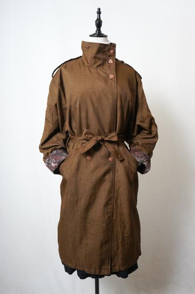 Stand Collar Point Botanical Brown Trench Coat