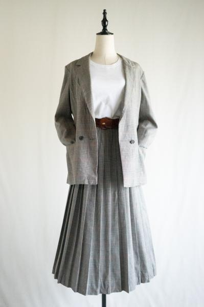 Glen check Jacket×Skirt Set up