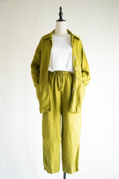 Green yellow Blouse×Pants Linen Set up