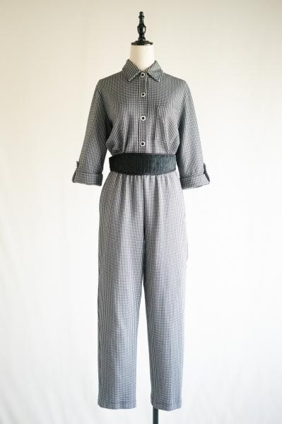 Gingham check Monotone Blouse×Pants Set up