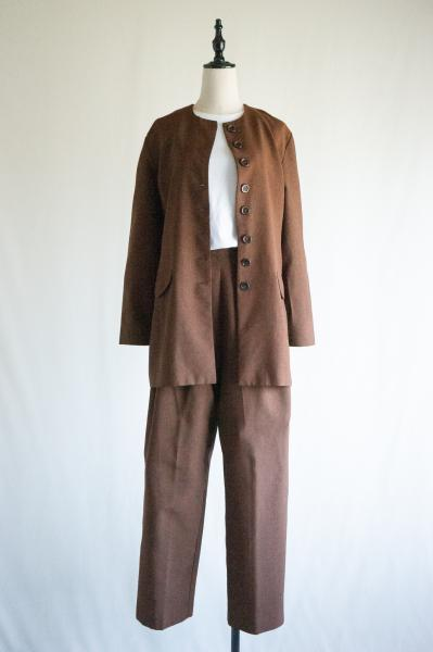 Dark Brown Long Jacket×Pants Set up