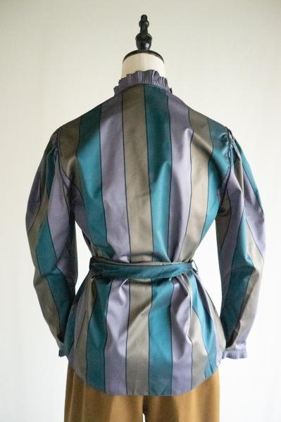 Made In Euro Pleated frill Stripe Blouse