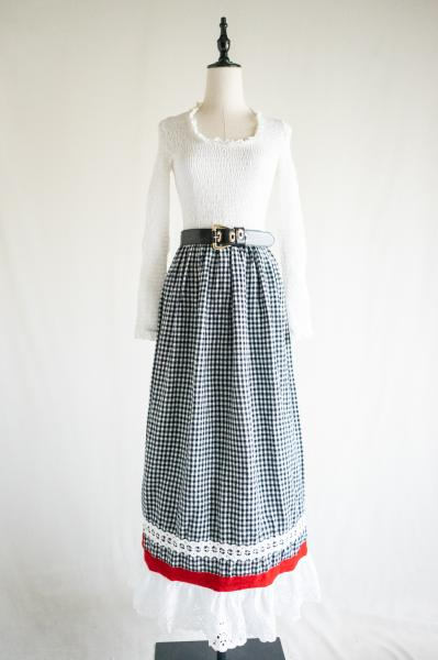 Shirring×Gingham check Lace Maxi Dress