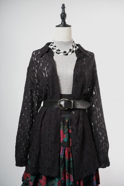 Made In Euro All Lace Black Blouse